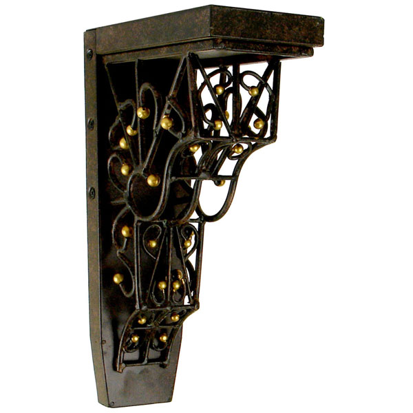 "4""W x 7 3/4""D x 13""H Barcelona Trellis Corbel in Gilded Iron (Loads up to 110lbs)"