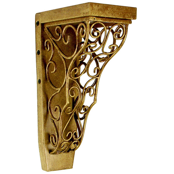 "4""W x 7 3/4""D x 13""H Tuscany Vinea Corbel in Kindled Gold (Loads up to 110lbs)"