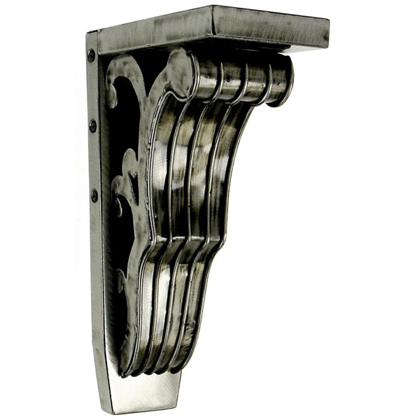 "4""W x 7 3/4""D x 13""H Basilica Cascade Corbel in Brushed Steel (Loads up to 110lbs)"