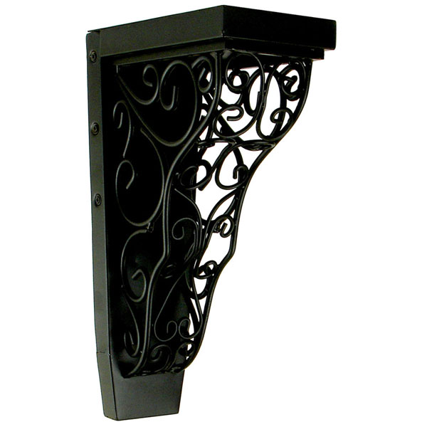 "4""W x 7 3/4""D x 13""H Tuscany Vinea Corbel in Wrought Iron (Loads up to 110lbs)"