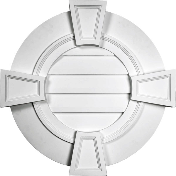 "30""W x 30""H x 1 1/2""P, Round Gable Vent with Keystones, Functional"