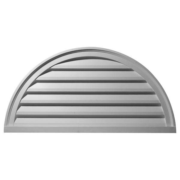 "48""W x 24""H x 2 1/4""P, Half Round Gable Vent Louver, Decorative"