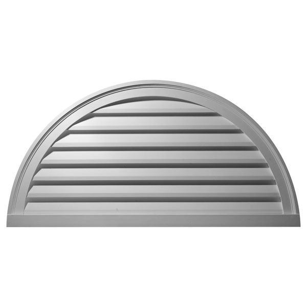 "60""W x 30""H x 2 1/2""P, Half Round Gable Vent Louver, Decorative"