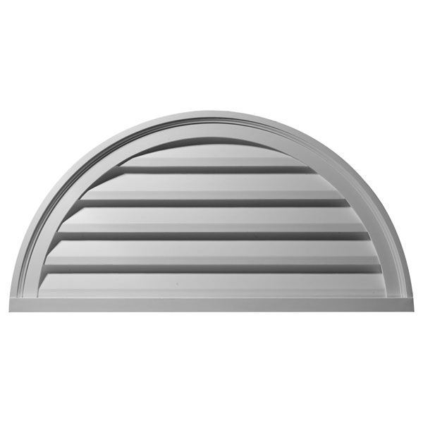 "40""W x 20""H x 2 1/4""P, Half Round Gable Vent Louver, Decorative"