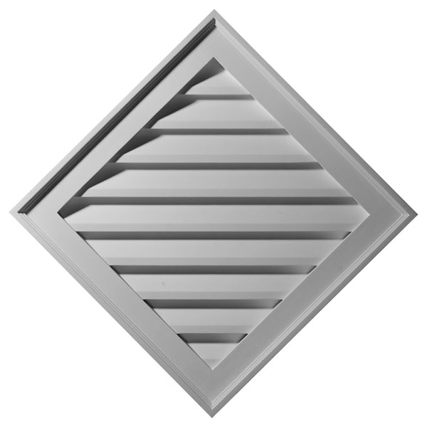 "34""W x 34""H x 1 3/8""P, (24"" Sides) Diamond Gable Vent Louver, Functional"