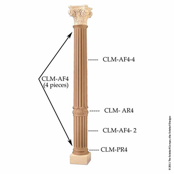 "8 3/4""OW x 42""H Column Acanthus Fluted Bottom Piece"