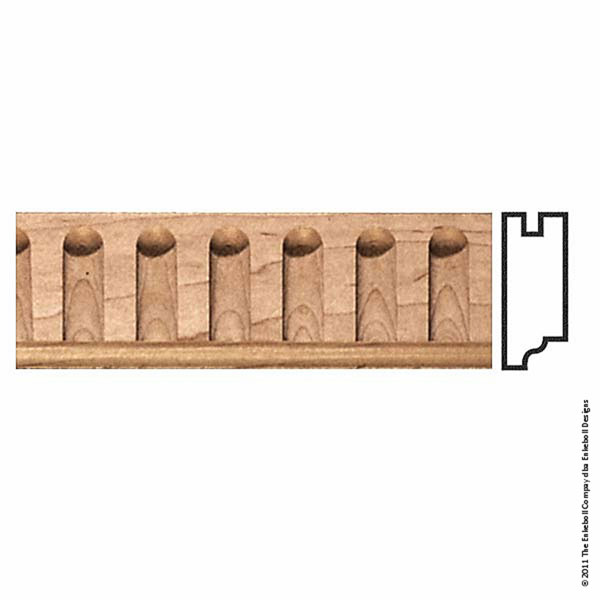 """2 5/8""""W x 1""""P, 1 1/4"""" Repeat, Molding Fluted, 8' Length,"""