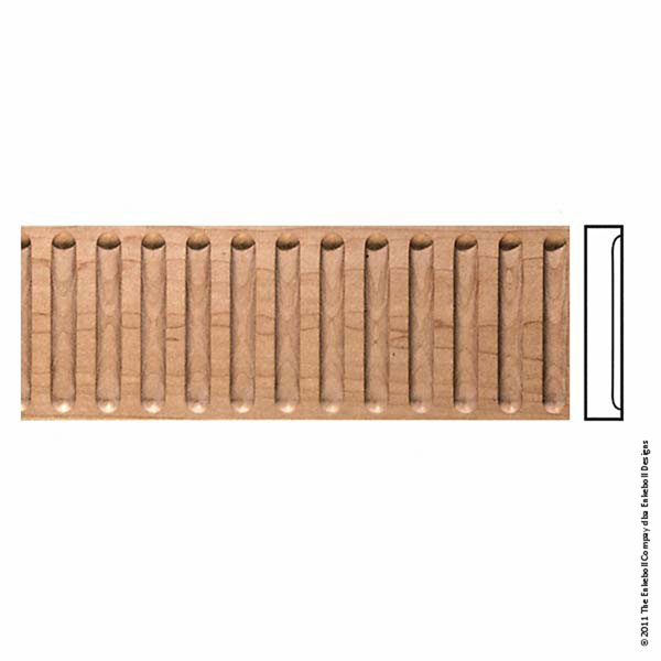 """5 1/2""""W x 1""""P, 1 1/4"""" Repeat, Molding Fluted, 8' Length,"""