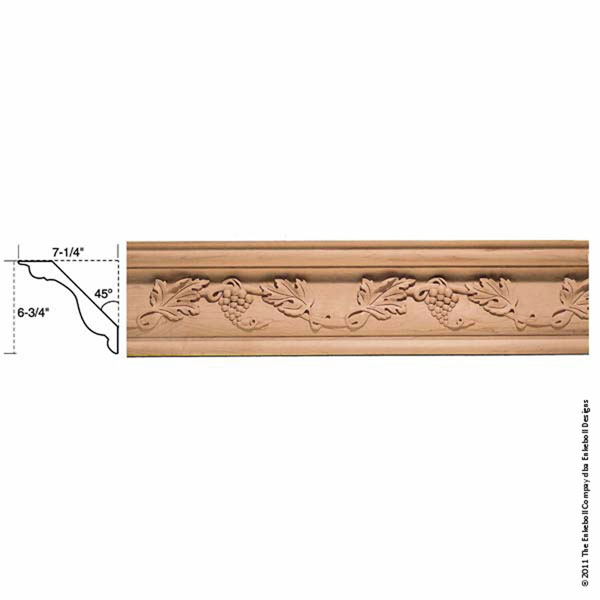 "6 3/4""W x 7 1/4""P, 18"" Repeat, Molding Grape Crown, 12' Length,"