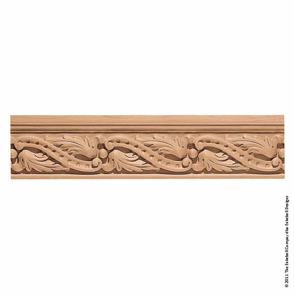"5 3/4""W x 1 3/4""P, 8"" Repeat, Molding Villa Leaf, 8' Length"