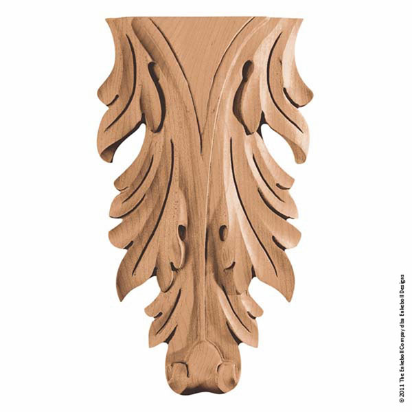 "5 1/4""W x 9""H x 1 3/16""P Onlay Acanthus Vertical Medium"