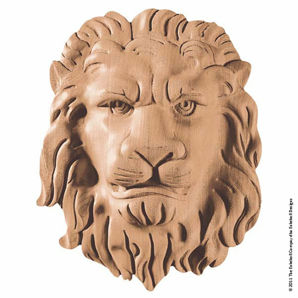 "9 5/8""W x 12 1/8""H x 3""P Onlay Lion Face Large"
