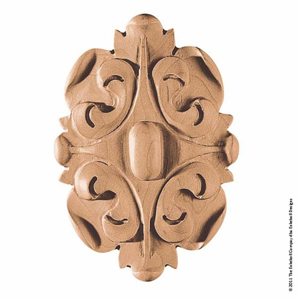 """3 1/2""""W x 5""""H x 3/4""""P Rosette Acanthus Oval Small"""
