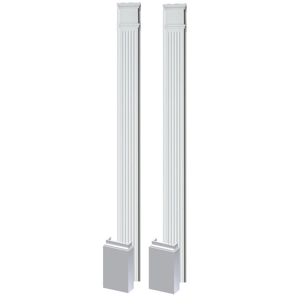 "5 1/4""W x 108""H x 1 5/8""P Fluted Pilaster, with Adjustable Plinth Block, (set of 2)"