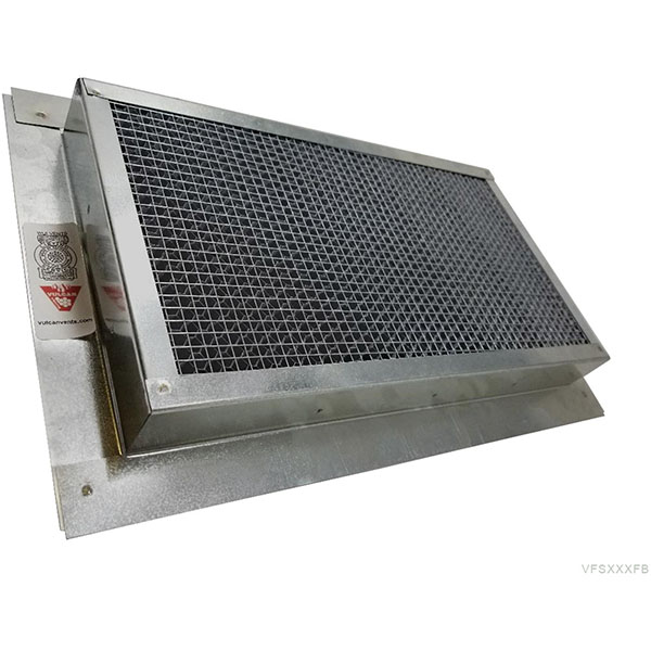 "4""H x 14""W (24 Sq. In. Venting Area) Vulcan Fire Stopping Foundation/Soffit Vent 1-1/2"" Recessed Flange for Stucco w/Foam, Galvanized Steel"