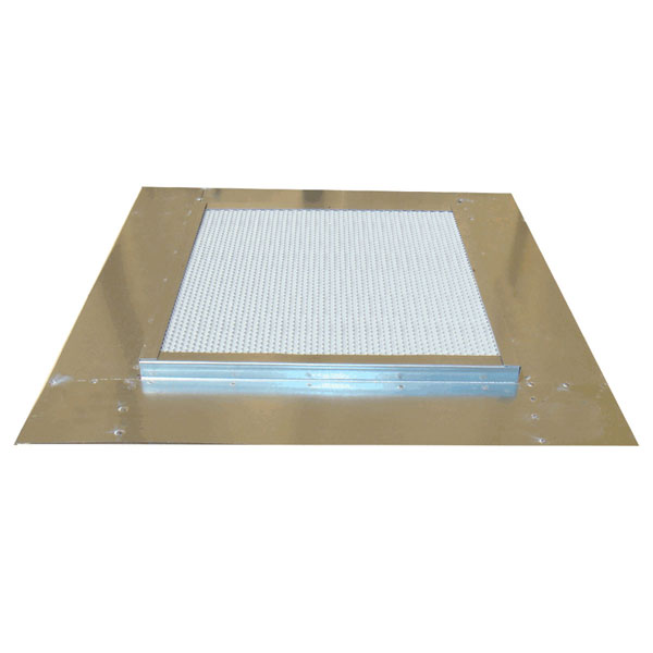 "16 1/2""H x 16 1/2""W (54 Sq. In. Venting Area) Vulcan Fire Stopping Base Flashing, Galvanized Steel, for use with any standard dormer vent"