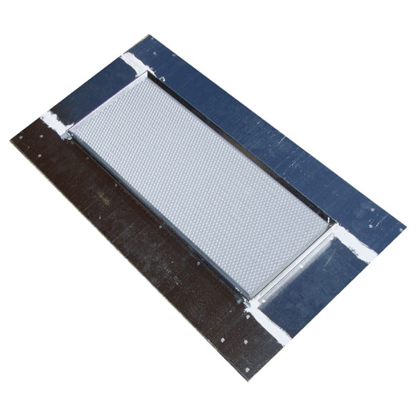"15""H x 26 3/4""W (108 Sq. In. Venting Area) Vulcan Fire Stopping Base Flashing, Galvanized Steel, for use with any standard dormer vent"