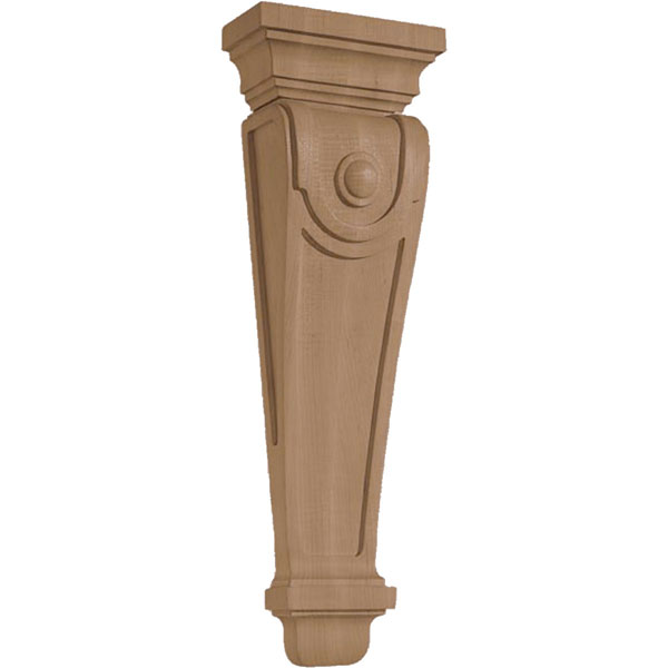 "7""W X 3 1/4""D X 22""H Corbel American Arts and Crafts Pilaster W/Dot Large"