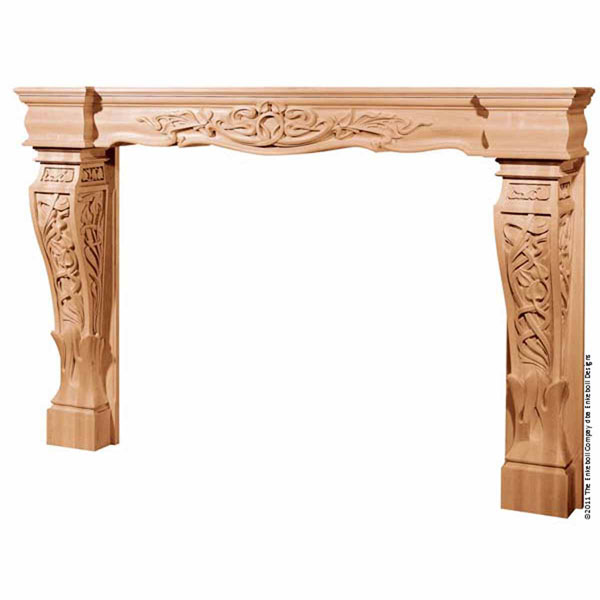 Mantel Art Nouveau Base with Backsplat and Fascia