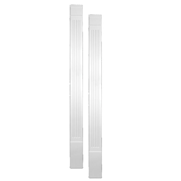 "7""W x 90""H x 1 1/4""P Fluted Economy Pilaster, with Plinth Block, (set of 2)"