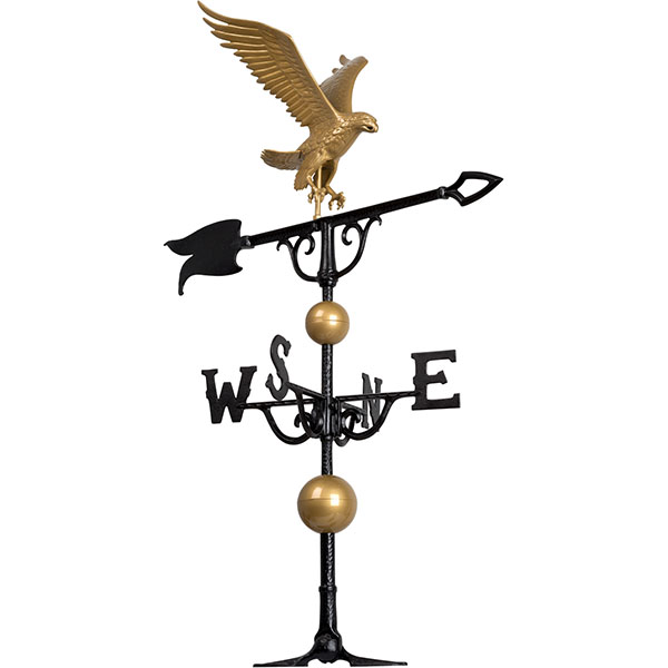 "15""L x 17""H 46"" Eagle Traditional Directions Weathervane, Gold-Bronze"