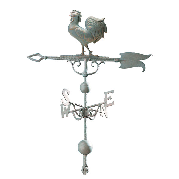 "12 1/2""L x 12""H 46"" Rooster Traditional Directions Weathervane, Verdigris"