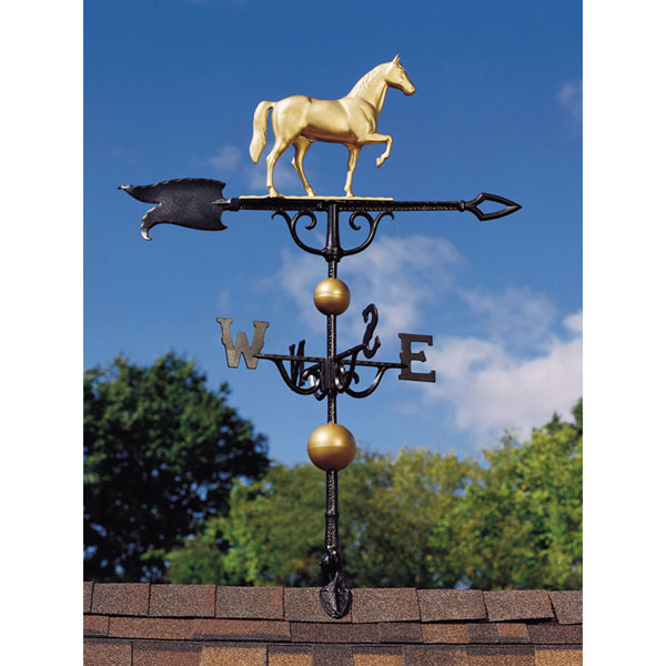 "14""L x 11 1/4""H 46"" Horse Traditional Directions Weathervane, Gold-Bronze"