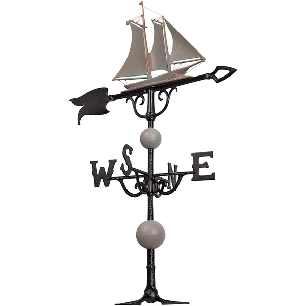 "18 1/4""L x 13 3/4""H 46"" Yacht Traditional Directions Weathervane, Verdigris"