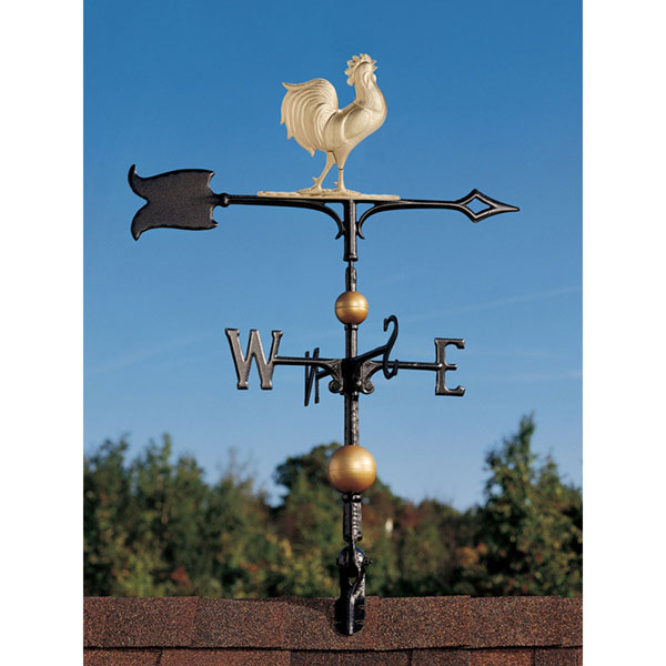 "9""L x 9""H 30"" Full-Bodied Rooster Weathervane, Gold-Bronze"