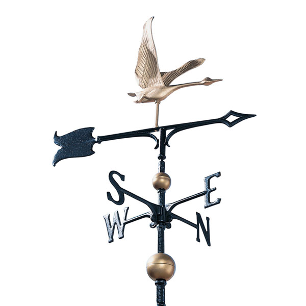 "11 1/2""L x 11 3/8""H 30"" Full-Bodied Goose Weathervane, Gold-Bronze"