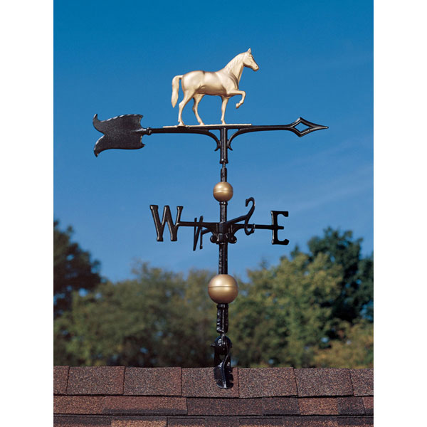 "9 3/4""L x 8""H 30"" Full-Bodied Horse Weathervane, Gold-Bronze"