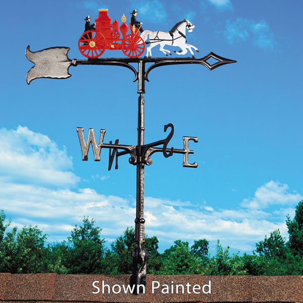 """14 3/4""""L x 6""""H 30"""" Fire Wagon Traditional Directions Weathervane, Rooftop Black"""