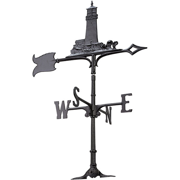 "11""L x 9 3/4""H 30"" Lighthouse Traditional Directions Weathervane, Rooftop Black"