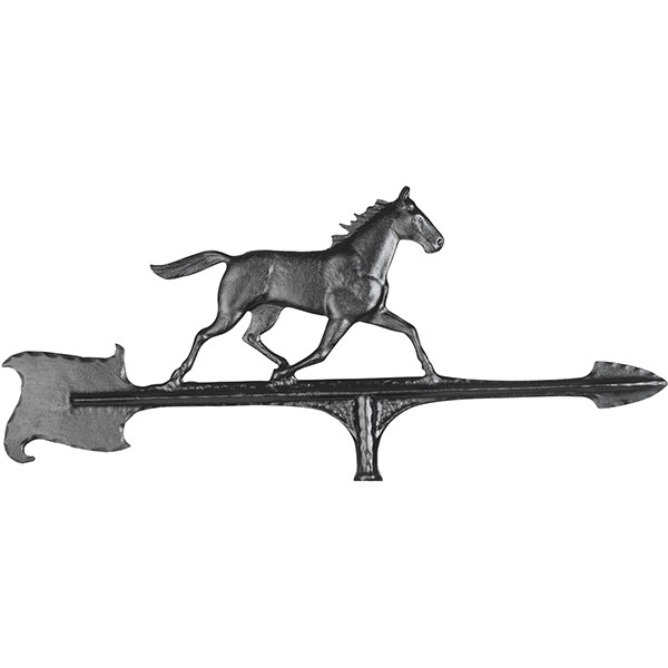"10 1/2""L x 7""H 30"" Horse Accent Directions Directions Weathervane, Black"
