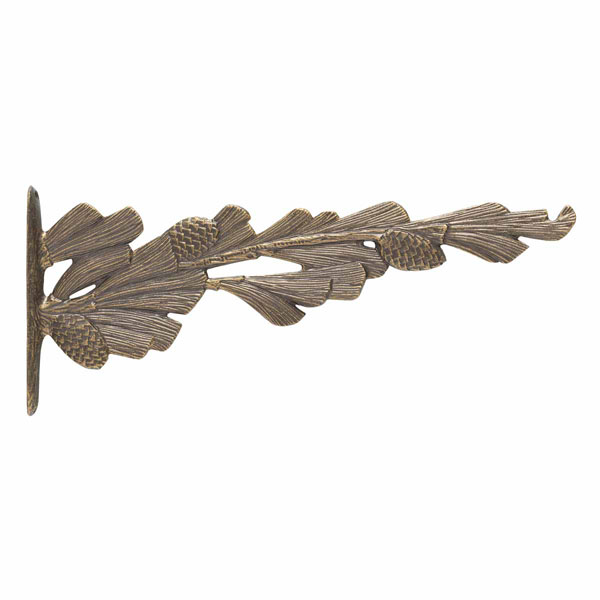 "16""Length Pinecone Nature Hook, French Bronze"