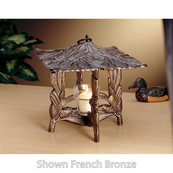 "9 1/2""L x 9 1/2""W x 9 1/2""H Pinecone Twilight Lantern, Oil Rub Bronze"
