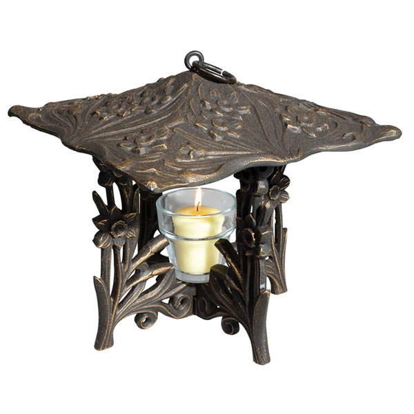 "9 1/2""L x 9 1/2""W x 9 1/2""H Daffodil Twilight Lantern, Oil Rub Bronze"