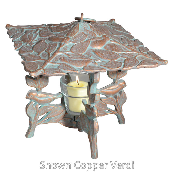"9 1/2""L x 9 1/2""W x 9 1/2""H Chickadee Twilight Lantern, Oil Rub Bronze"