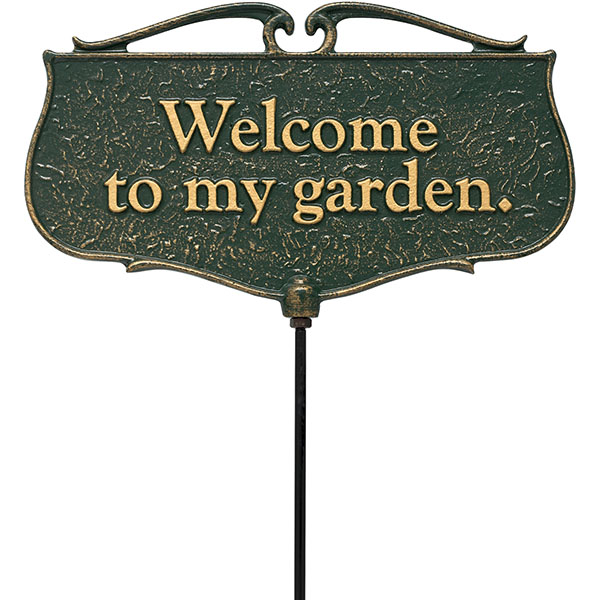 "12""W x 7""H plus 17""stake ""Welcome to my Garden"", Garden Poem Sign"