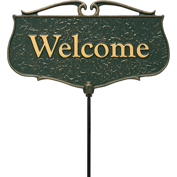 "12""W x 7""H plus 17""stake ""Welcome"", Garden Poem Sign"