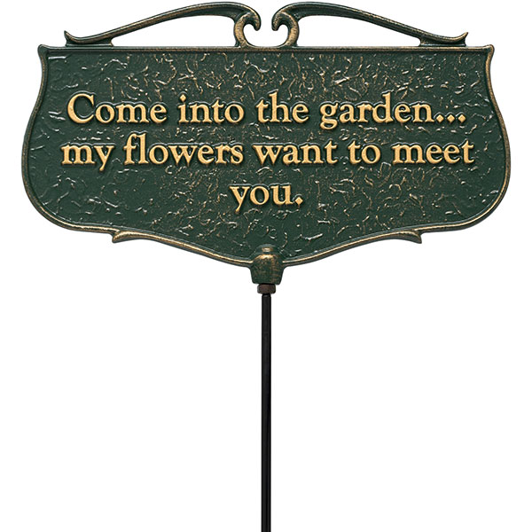 "12""W x 7""H plus 17""stake ""Come into the Garden..."", Garden Poem Sign"