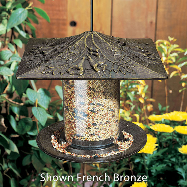 "9 1/2""L x 9 1/2""W x 9""H 6"" Trumpet Vine Tube Feeder, Oil Rub Bronze"