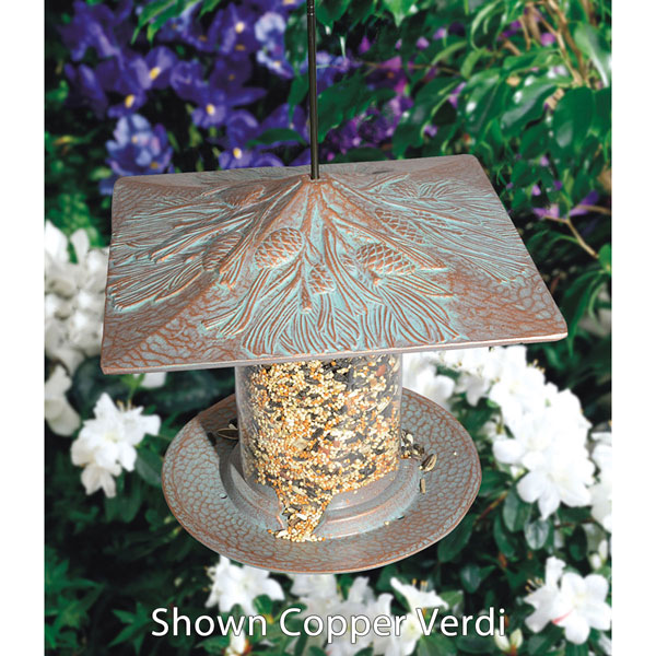 "9 1/2""L x 9 1/2""W x 9""H 6"" Pinecone Tube Feeder, Oil Rub Bronze"