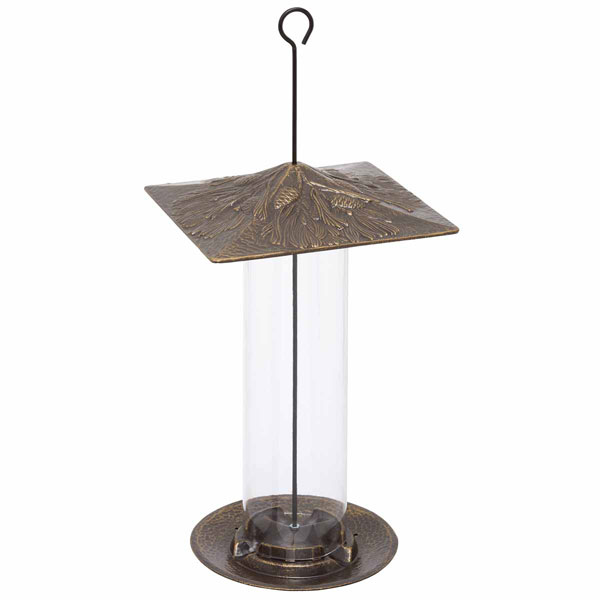 "9 1/2""L x 9 1/2""W x 14 1/2""H 12"" Pinecone Tube Feeder, French Bronze"