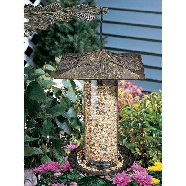 "9 1/2""L x 9 1/2""W x 14 1/2""H 12"" Pinecone Tube Feeder, Oil Rub Bronze"