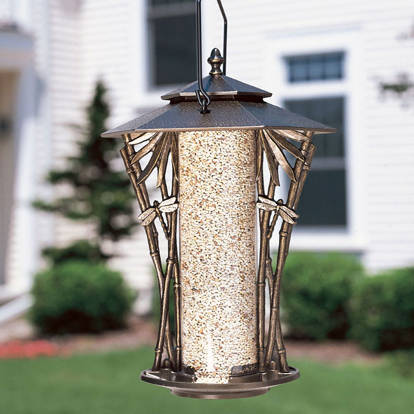 "12""L x 12""W x 19""H 12"" Dragonfly Silhouette Feeder, French Bronze"