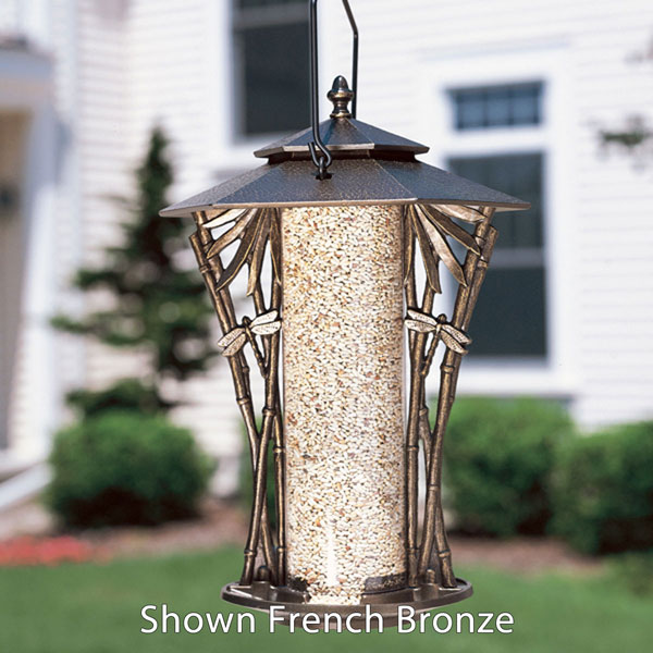 "12""L x 12""W x 19""H 12"" Dragonfly Silhouette Feeder, Oil Rub Bronze"