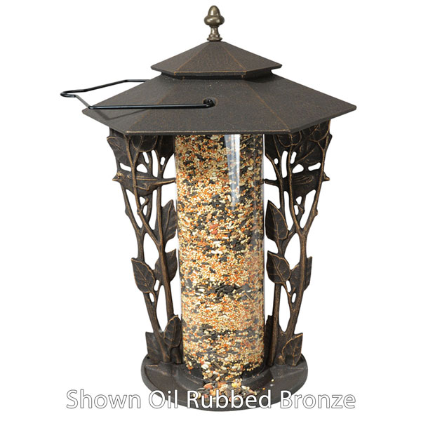 "12""L x 12""W x 19""H 12"" Chickadee Silhouette Feeder, French Bronze"