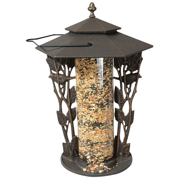 "12""L x 12""W x 19""H 12"" Chickadee Silhouette Feeder, Oil Rub Bronze"