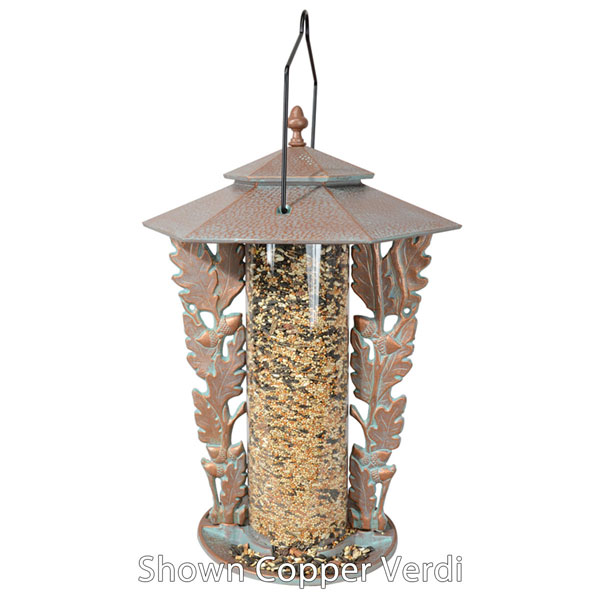 "12""L x 12""W x 19""H 12"" Oakleaf Silhouette Feeder, Oil Rub Bronze"